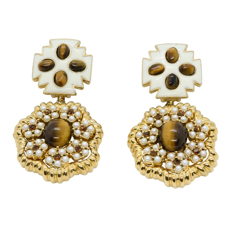 Lady Elena Statement Earrings - Ivory & Tigers Eye