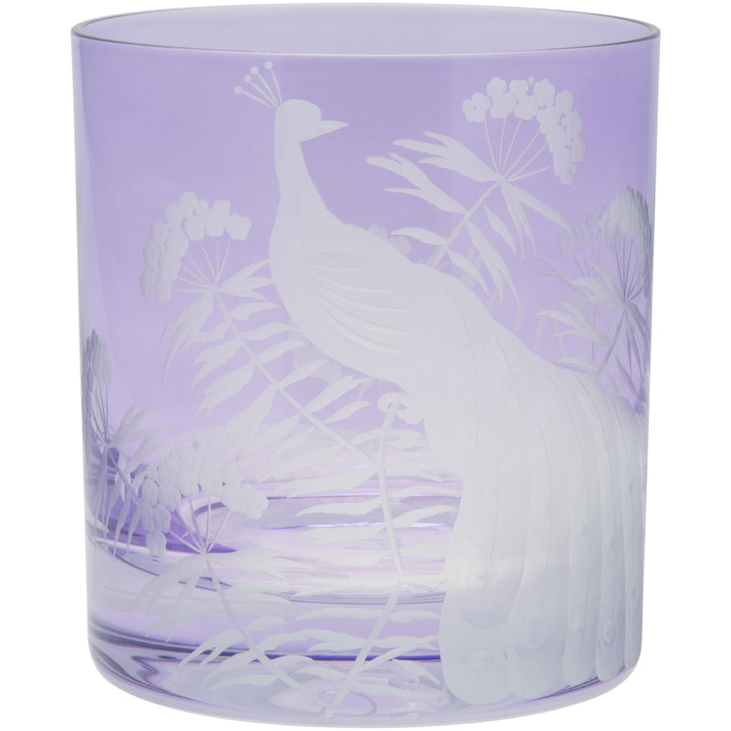 Moira Peacock & Blossom Double Old Fashioned Tumbler Violet