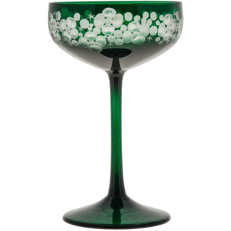 Isadora Champagne Saucer - Bottle Green