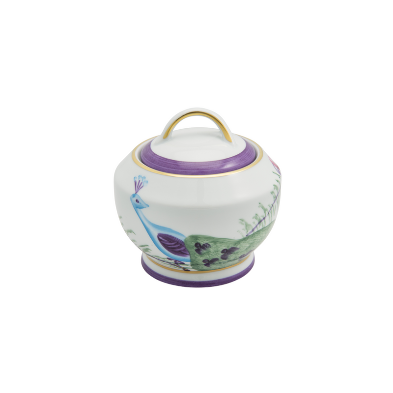 Peacock Sugar Bowl - Amethyst Purple