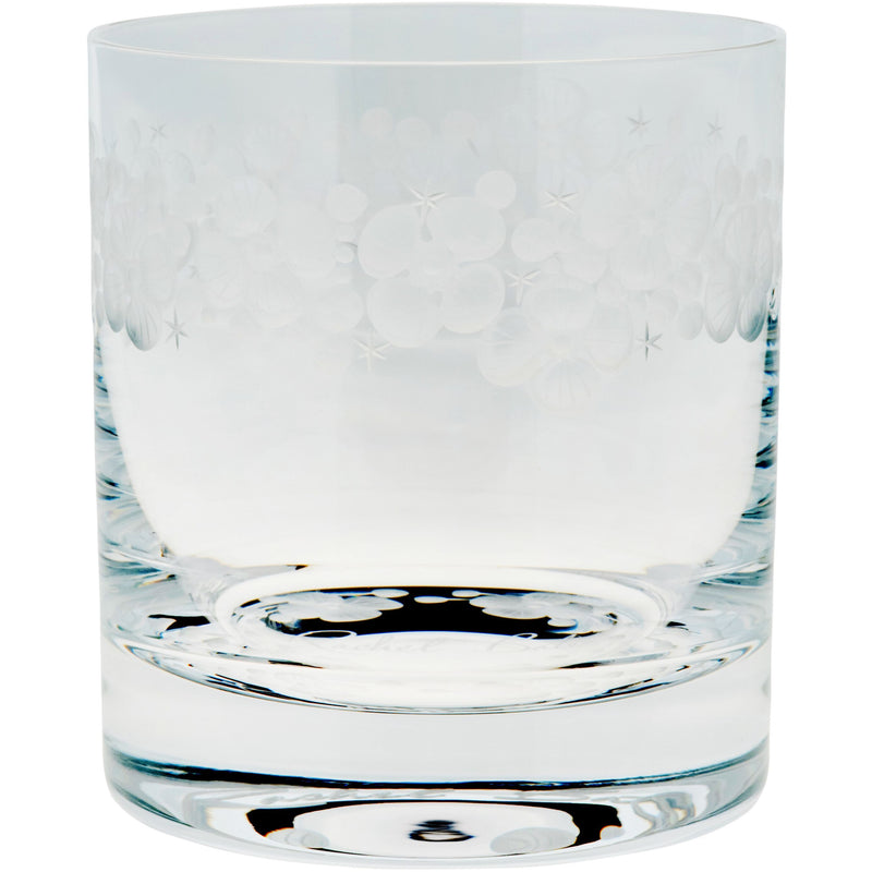 Moira Lace Cap Hydrangea Double Old Fashioned Tumbler - Clear