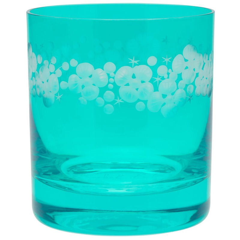 Moira Lace Cap Hydrangea Double Old Fashioned Tumbler - Teal