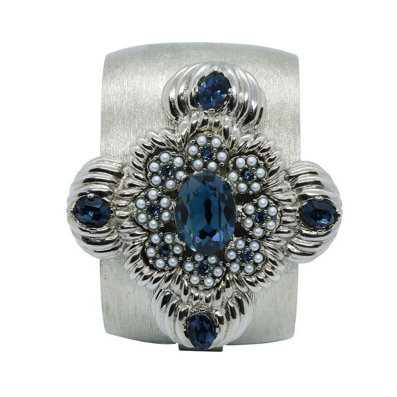 Lady Leonarda Cuff - Silver & Montana Blue - Order by 02.12.19 for Christmas Delivery