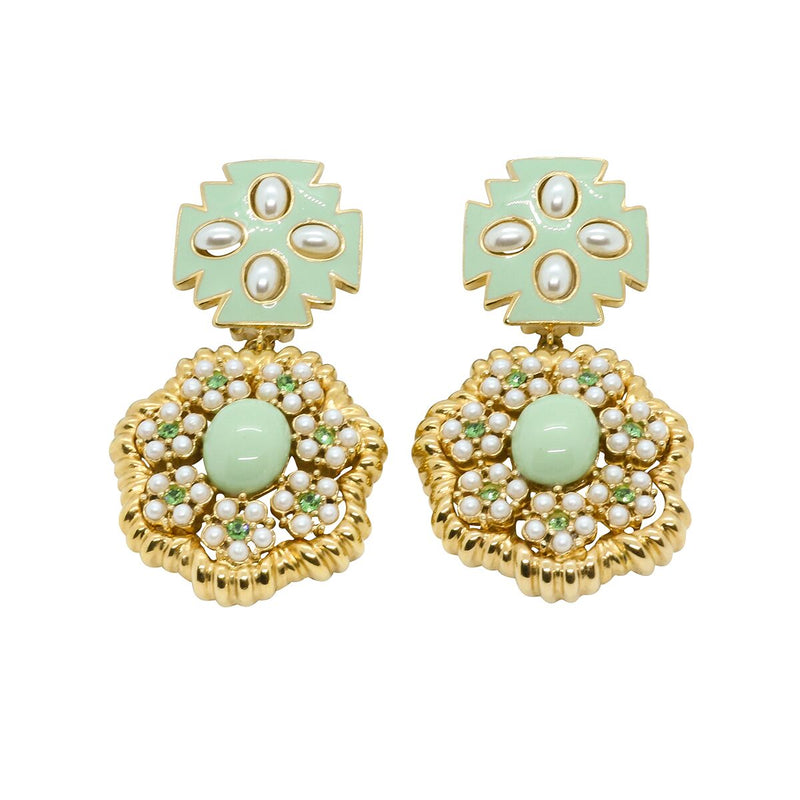 Lady Elena Statement Earrings - Mint Green