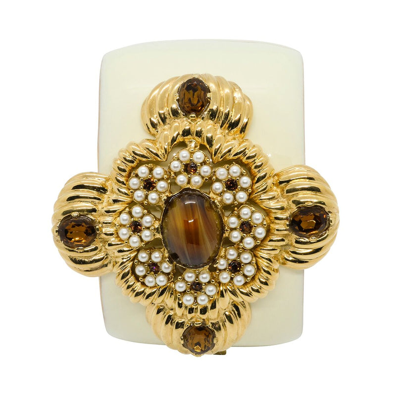 Lady Leonarda Cuff - Ivory & Tigers Eye - Order by 02.12.19 for Christmas Delivery