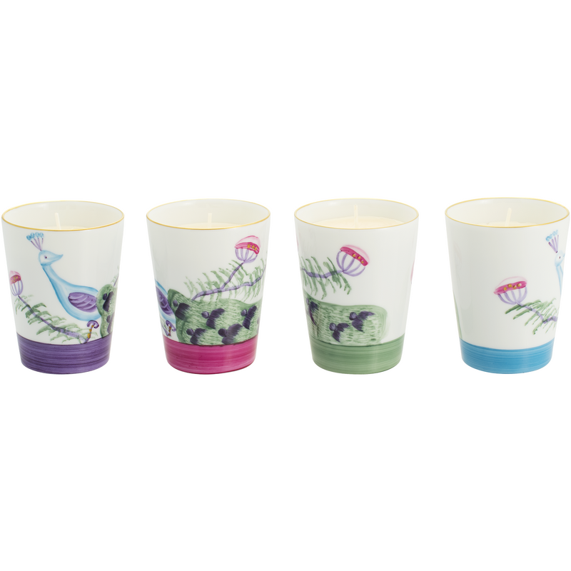 Peacock Candle - Set of 4 - Mixed Colours