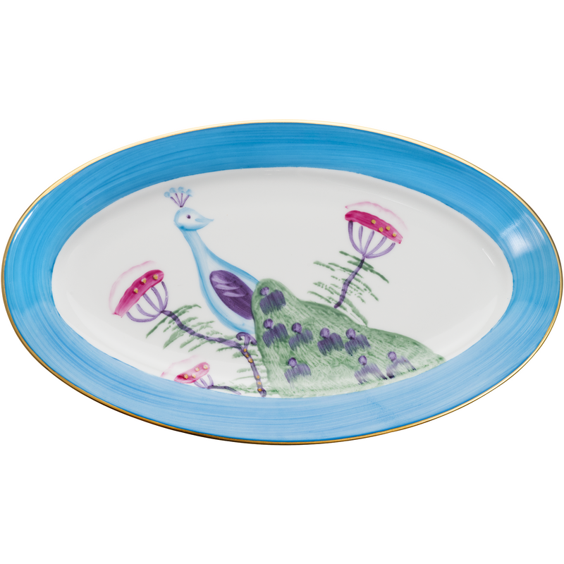Peacock Small Oval Canape Plate - Turquoise Blue
