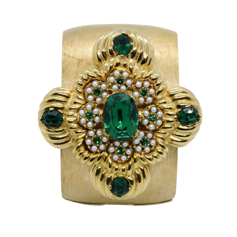 Lady Leonarda Cuff - Gold & Emerald Green - Order by 02.12.19 for Christmas Delivery