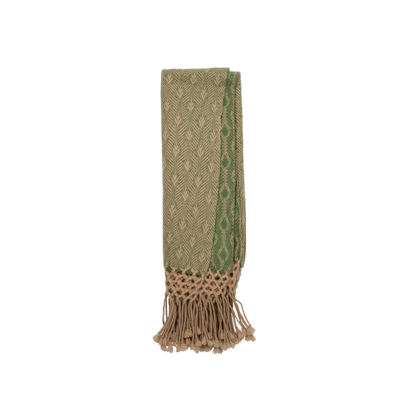 Pure Cashmere Throw Peacock Weave - Emerald Green