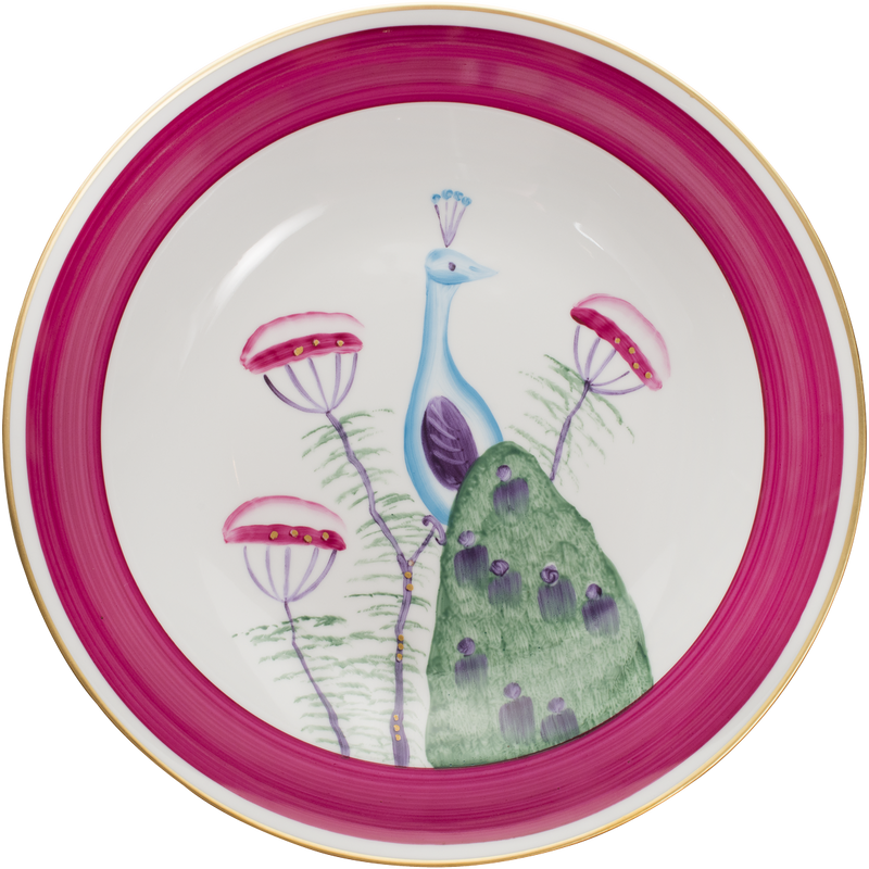 Peacock Serving Bowl - Fuchsia Pink