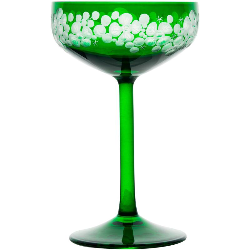 Isadora Champagne Saucer - Emerald Green