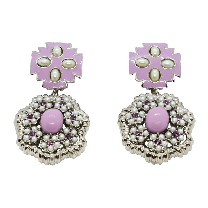 Lady Elena Statement Earrings - Lavender Purple