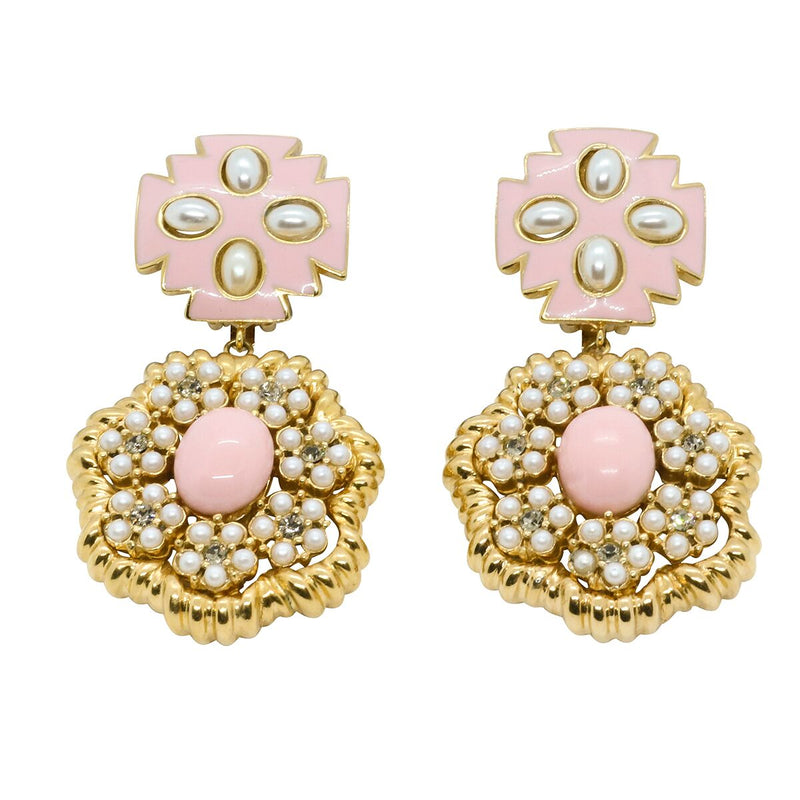 Lady Elena Statement Earrings - Rose Pink