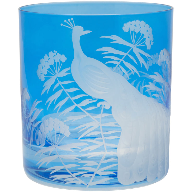 Moira Peacock & Blossom Double Old Fashioned Tumbler - Sky Blue