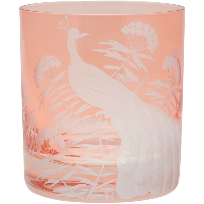 Moira Peacock & Blossom Double Old Fashioned Tumbler - Flamingo Pink
