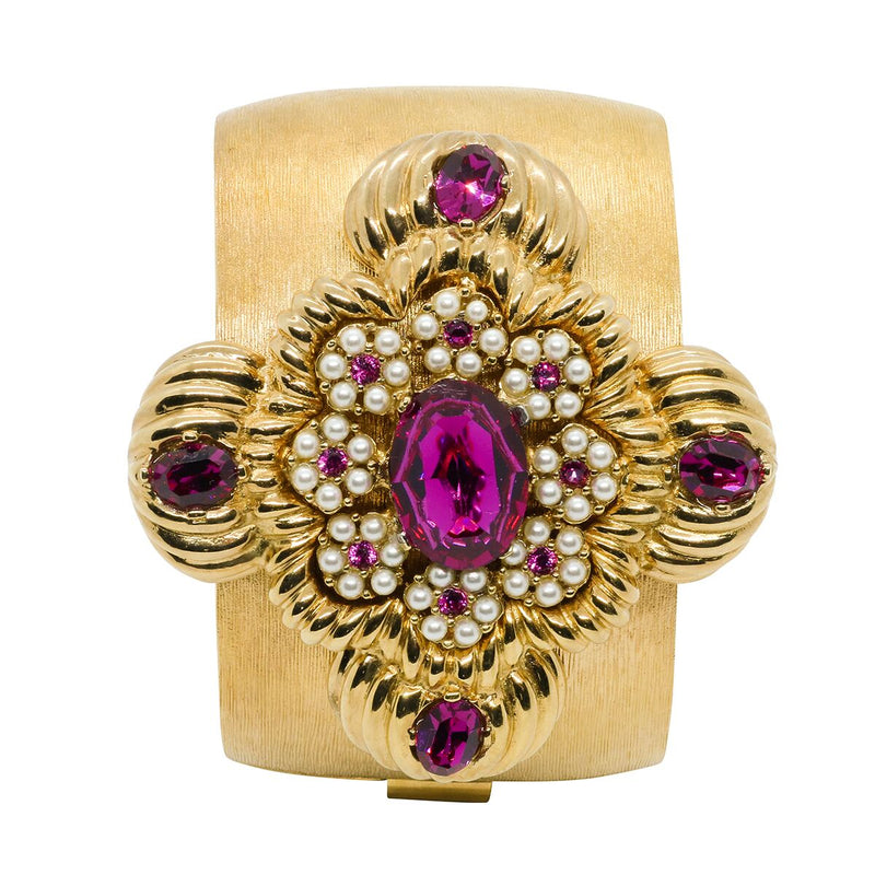 Lady Leonarda Cuff - Gold & Fuchsia - Order by 02.12.19 for Christmas Delivery