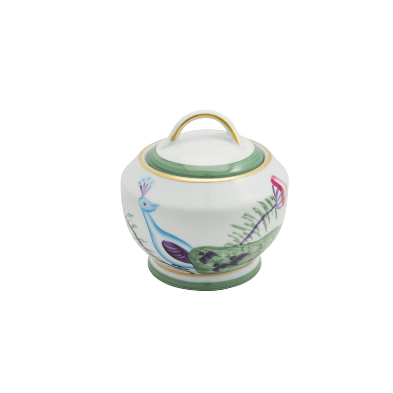 Peacock Sugar Bowl - Emerald Green