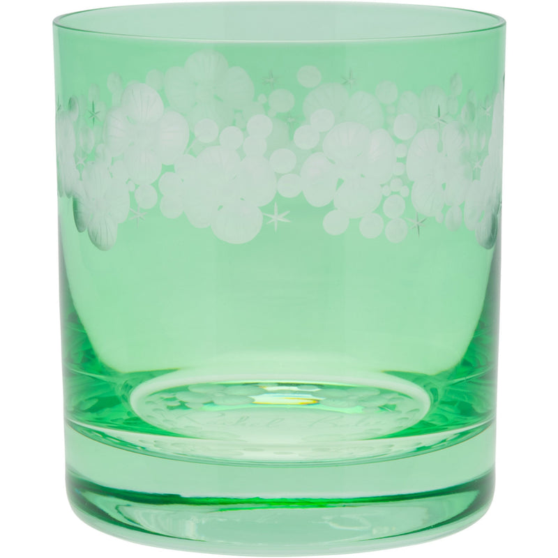 Moira Lace Cap Hydrangea Double Old Fashioned Tumbler - Peridot Green