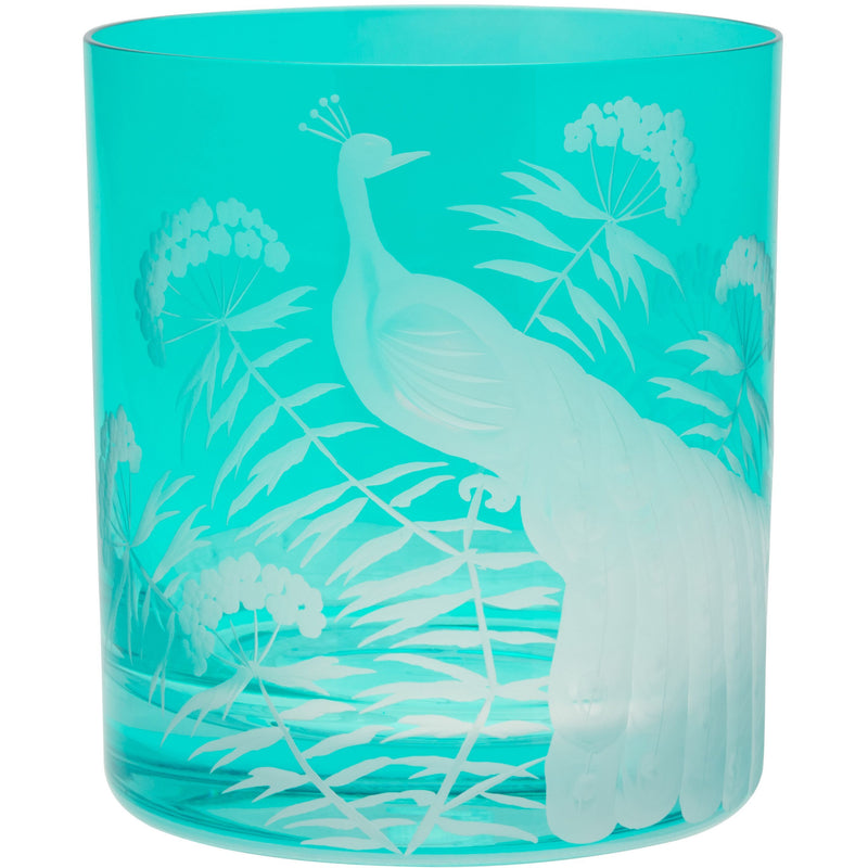 Moira Peacock & Blossom Double Old Fashioned Tumbler - Teal