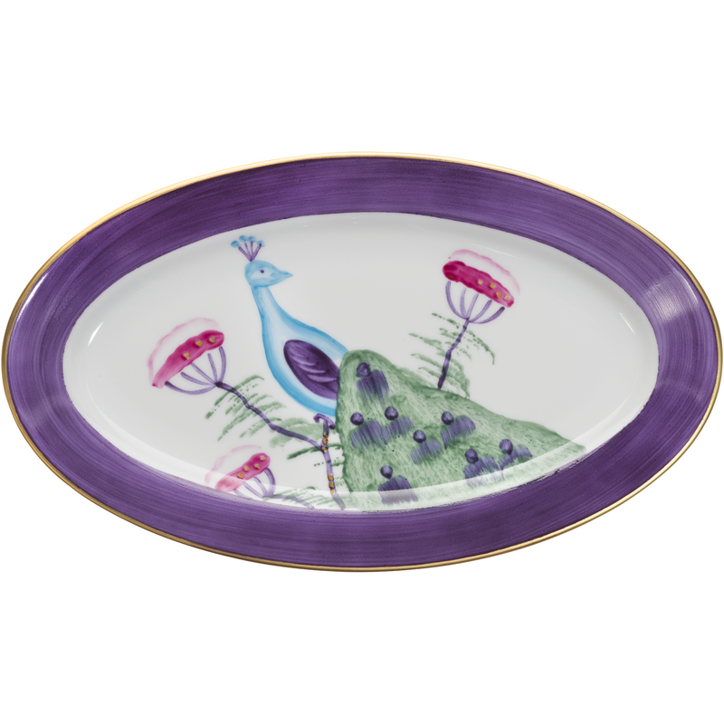 Peacock Small Oval Canape Plate - Amethyst Purple
