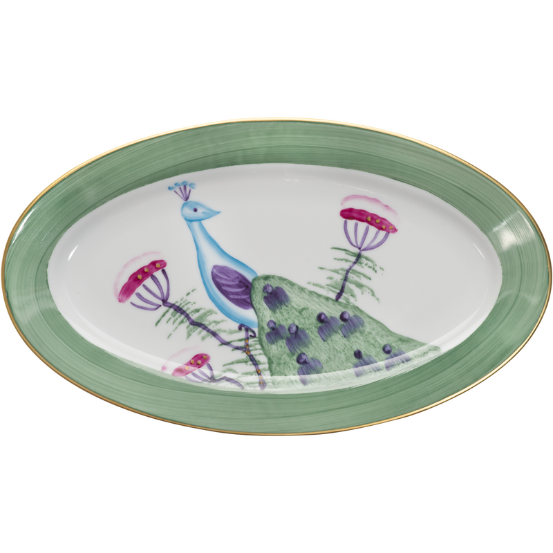 Peacock Small Oval Canape Plate - Emerald Green
