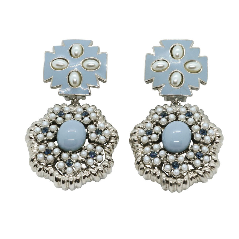 Lady Elena Statement Earrings - Sky Blue