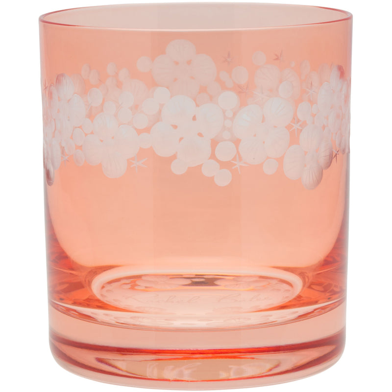 Moira Lace Cap Hydrangea Double Old Fashioned Tumbler - Flamingo Pink