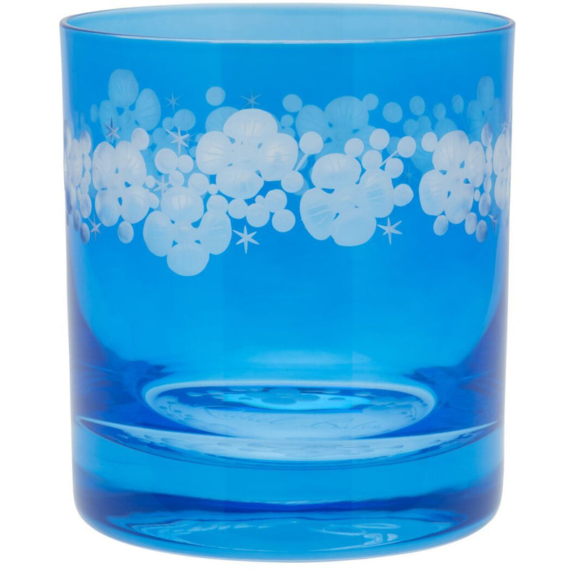 Moira Lace Cap Hydrangea Double Old Fashioned Tumbler - Sky Blue