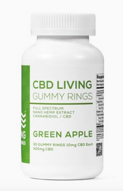 CBD Living Green Apple Gummy Rings - 30ct