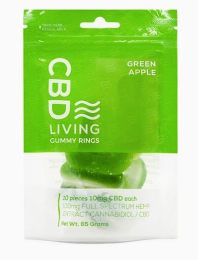 CBD Living Gummy Rings Green Apple - 10ct