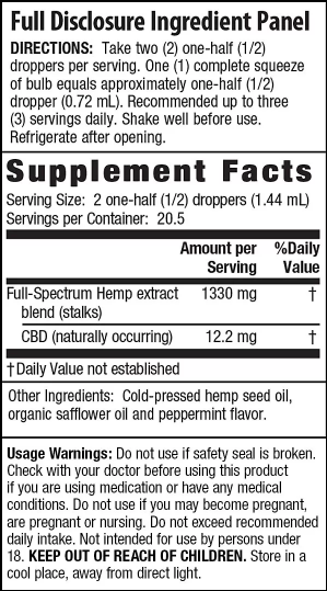 Irwin Naturals CBD Oil – Peppermint 1000mg