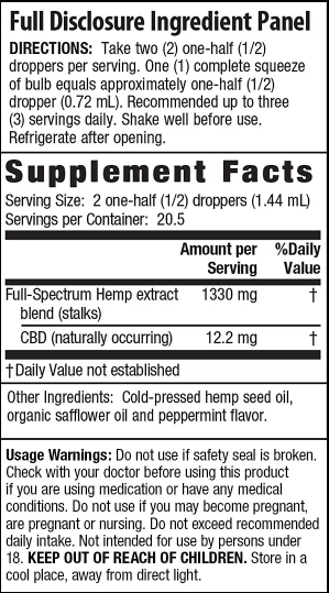 Irwin Naturals CBD Oil – Peppermint 250mg