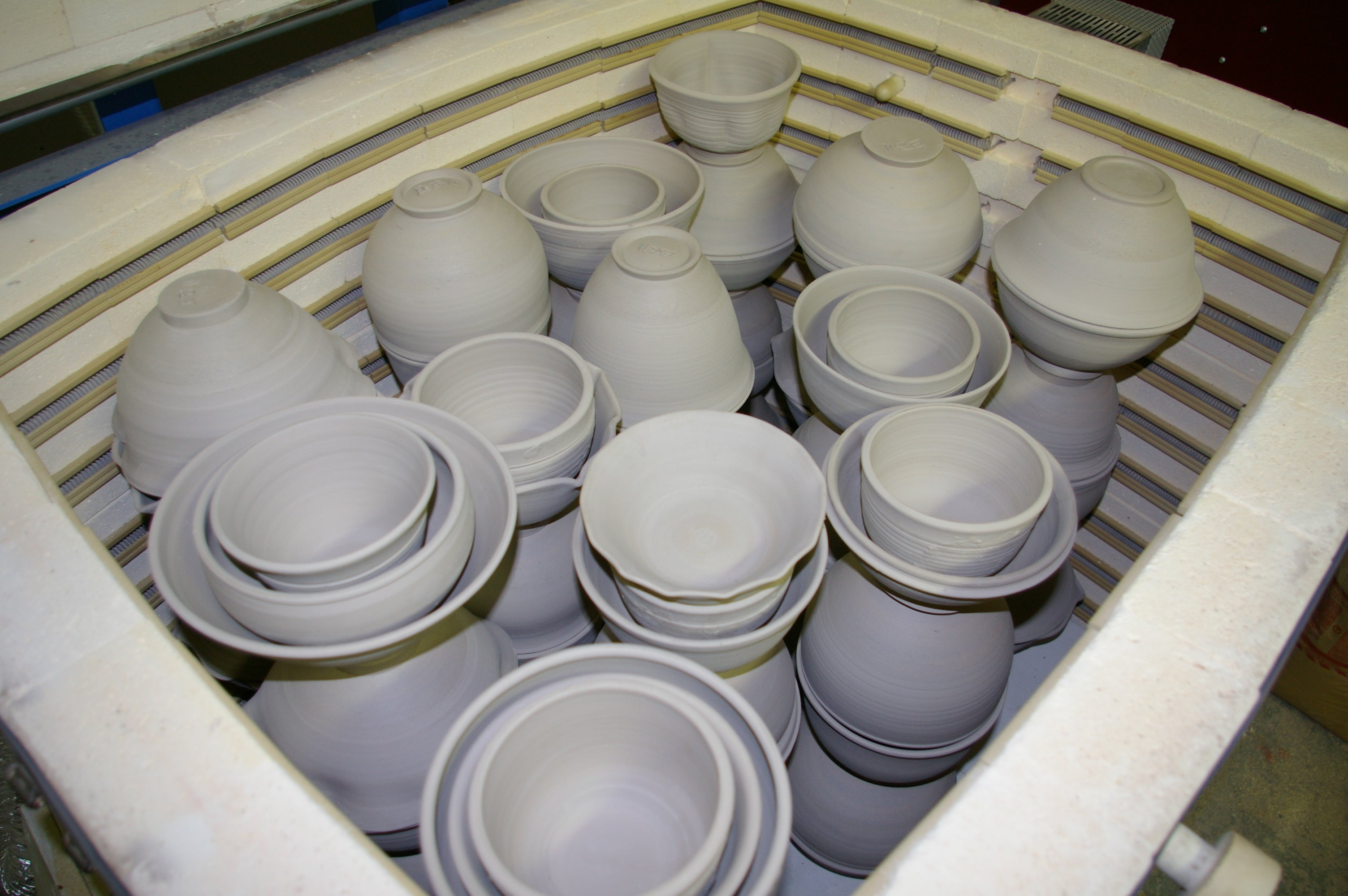 kiln filled with pots