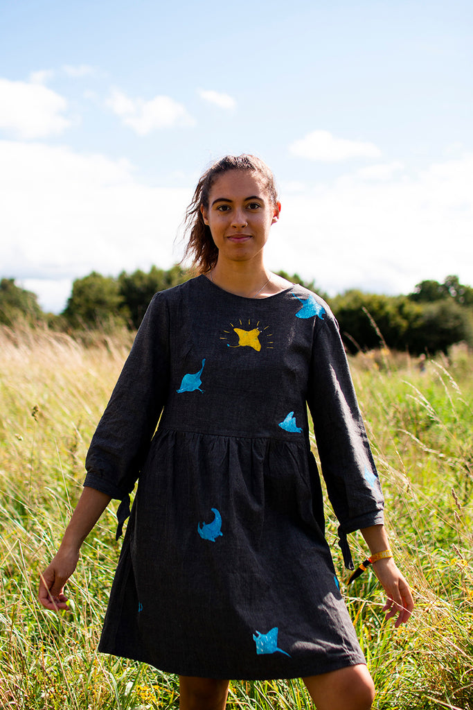 Hand Painted Ray of Sunshine, Handmade in UK Smock Dress, Organic with pockets