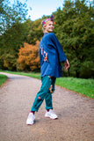 Hand Painted Koi Fish Jacket, Handmade in UK, Organic denim with pockets