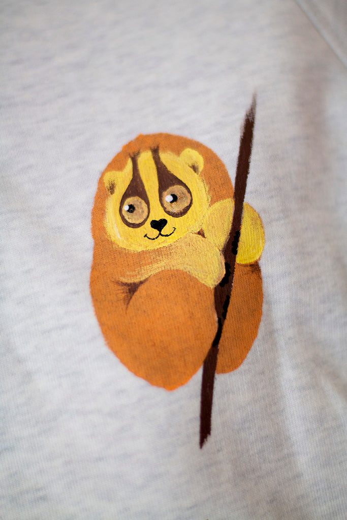 Hand Painted Endangered Slow Loris, Organic cut-off Sweater-We Are Hairy People