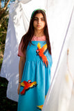 Hand Painted Amazon Macaws on Organic denim dress, cut and sewn in UK