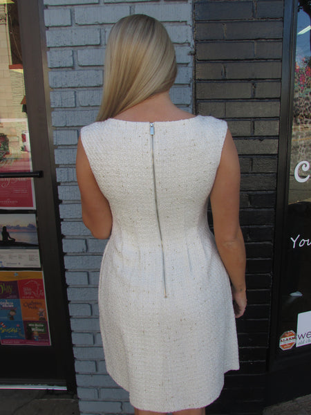 Ivory Boucle Dress W Gold Accents