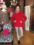 Red High Low Split Back Sweater