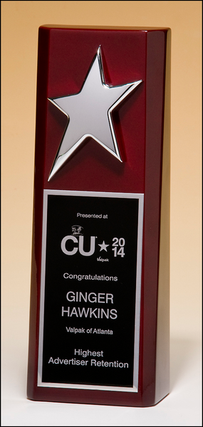 High gloss rosewood stained trophy with silver star
