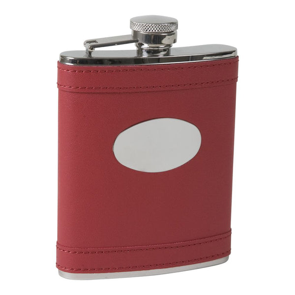 Apple red Leatherette Flask with Oval Plate