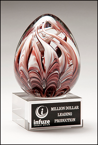 Egg-Shaped Burgundy and White Art Glass Award on Clear Glass Base