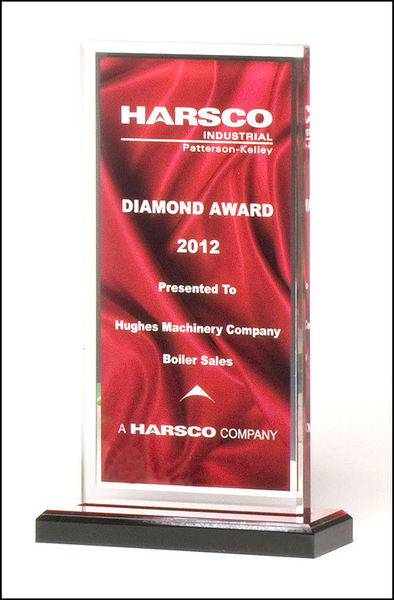 Acrylic award with deep red draped satin pattern
