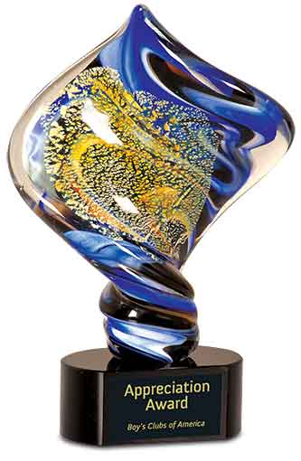 "11"" Diamond Twist Art Glass Award"