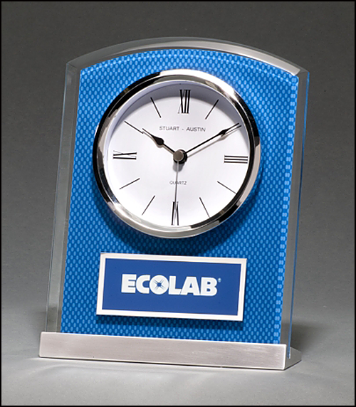 Glass Clock with Blue Carbon Fiber Design