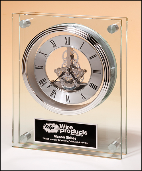 Contemporary Styled Large Glass Clock with Silver Skeleton Movement