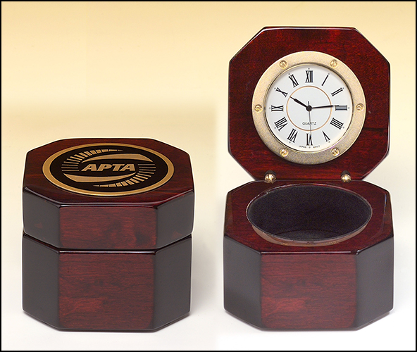 Rosewood piano-finish desktop clock with storage area