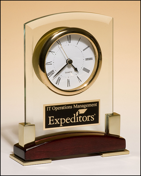 Beveled glass desktop clock with rosewood piano-finish base with gold metal accents