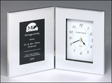 Combination clock with black polished silver aluminum plate