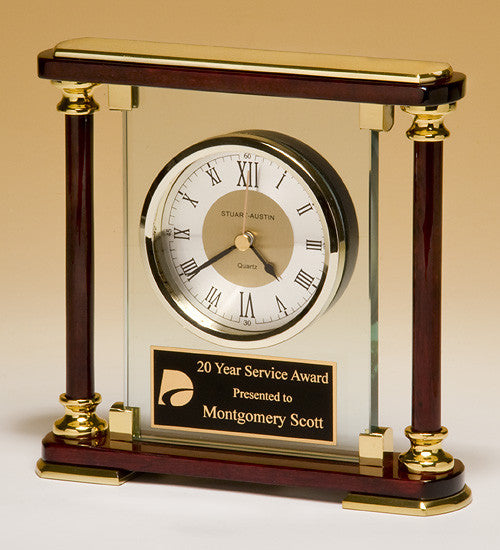 Glass and Rosewood Piano Finish Clock